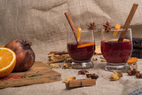mulled wine on jute