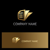 gold document paper business vector logo
