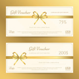 Elegant gift card or gift voucher template with gold bows and ribbon vector