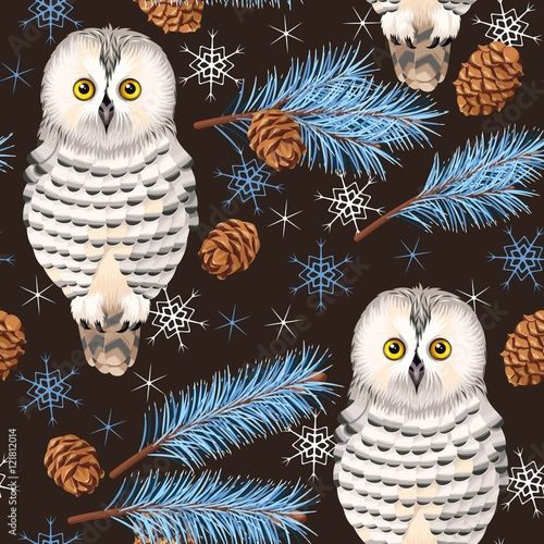 Aluminium Uilen cartoon Seamless polar owl