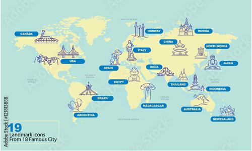Fotobehang Wereldkaarten World Map with Famous Country Landmark Symbol