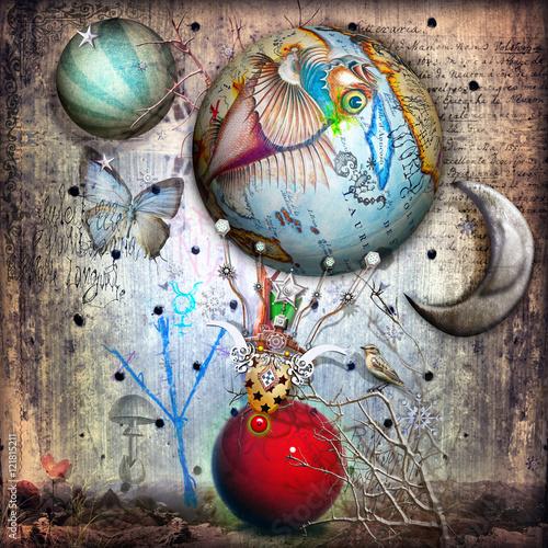 Foto op Plexiglas Imagination Mongolfiera surreale in un paesaggio stregato con luna e farfalle