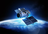 Communications Satellite orbiting and relaying information data back to earth. 3D Illustration.