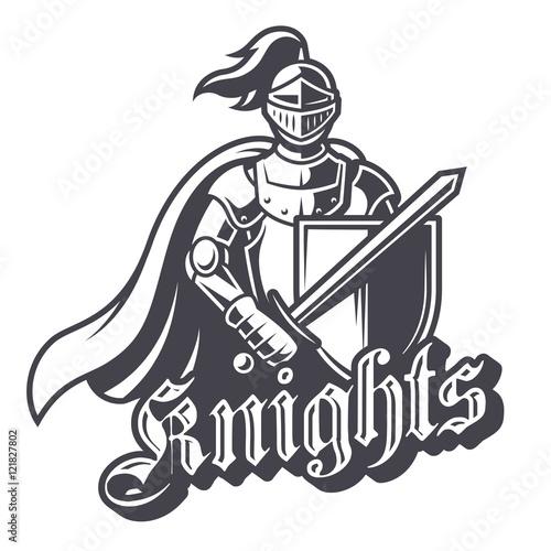 Monochrome knight sport logo