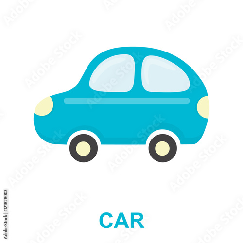 Car toy cartoon icon. Illustration for web and mobile design.