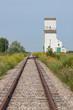 Railway Tracks Toward Distant Grain Elevator