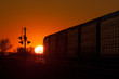 Golden Sunset Behind Departing Train