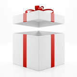Geschenk zu Weihnachten mit offenem Deckel
