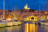 Yachts in the port in Marseille at night