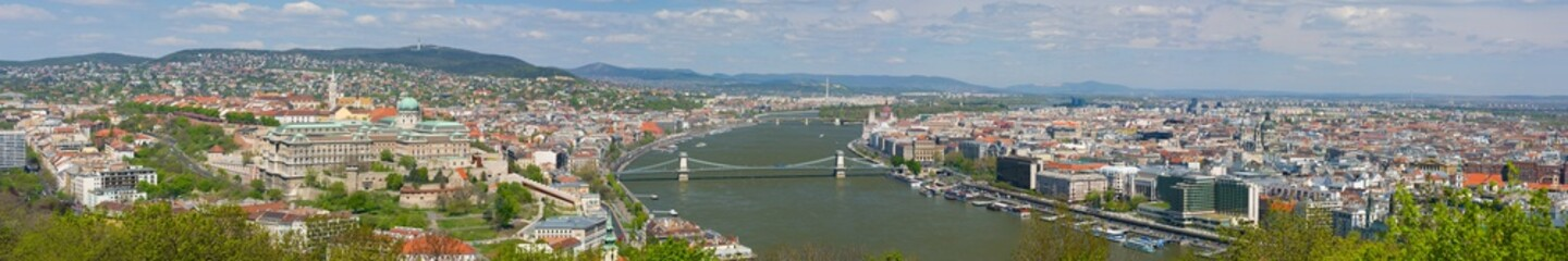 Panorama of Budapest in a cloudy day