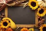 Fall chalkboard frame with pumpkins