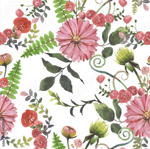 Cotton fabric Draw a pattern flowers watercolour white background.