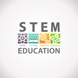 Fototapety STEM Education Concept Logo. Science Technology Engineering Mathematics.