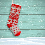 knitted christmas stocking, illustration