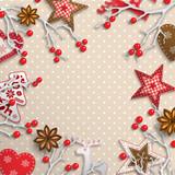 Christmas background, small scandinavian styled decorations lying on polka dot patterned backdrop, illustration