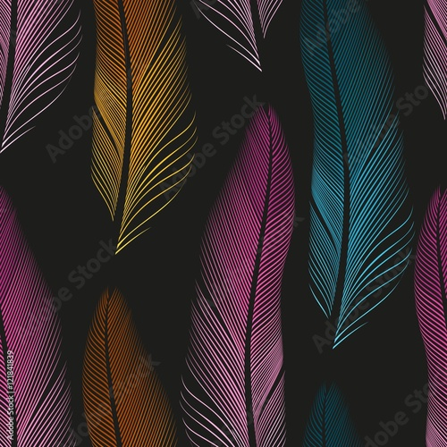 Decorative feathers seamless - 121841839