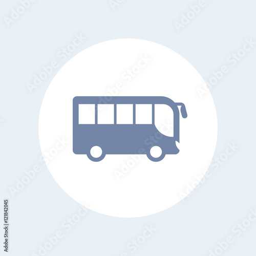 Poster bus icon isolated on white, side view