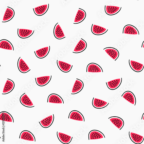 Abstract seamless pattern with hand drawn watermelons.  - 121843495