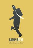 Elegant man silhouette dancing jazz