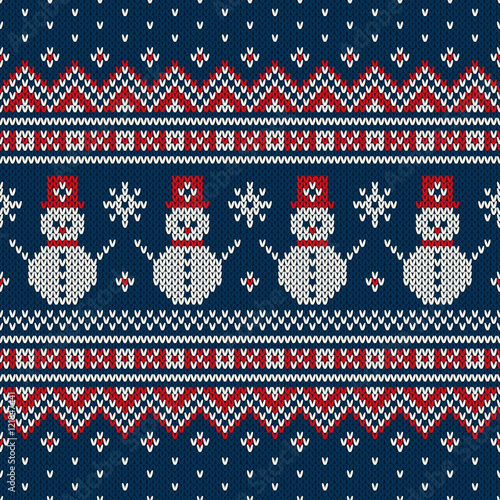 Cotton fabric Winter Holiday Sweater Design with Snowman and Christmas Tree. Seamless Knitted Pattern