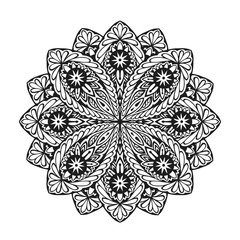 Indian ethnic mandala. Ornamental round lace pattern. Vector illustration