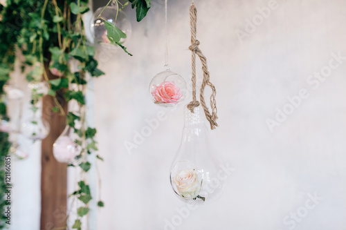 Poster Beautiful Hand Made Wedding Decoration arch, flowers in jar