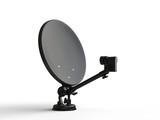 Black TV satellite dish - side view