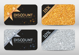 Set of golden and silver glitter black vector discount cards templates