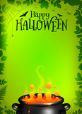 Green vector Halloween poster template with orange potion in black cauldron