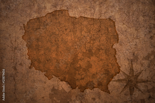 poland map on vintage crack paper background © luzitanija