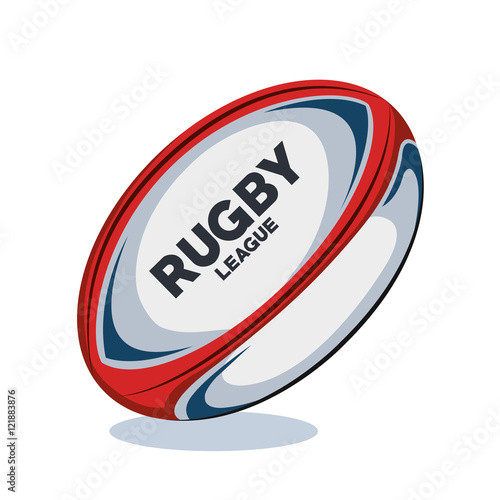 Deurstickers Bol rugby ball red, white and blue design vector illustration eps 10