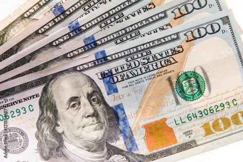 Poster One hundred dollar bills in close up photo, U.S. currency.