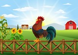 Cute cartoon rooster crowing in the farm fence - 121892031