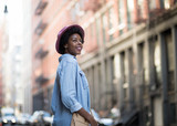 Fashionable African American woman smiling - 121892664