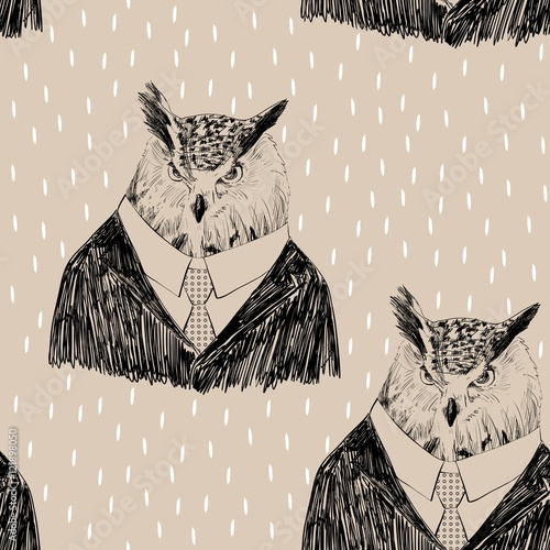 Vector sketch of owl in a suit. Seamless pattern - 121898050