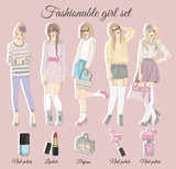 Young fashion girls illustration. Vector illustration. Backgroun - 121905239