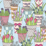 Cute seamless floral pattern. Pattern with flowers in buckets. - 121905281