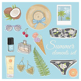 Summer fashion vector accessories set. Background with sunglasse - 121905423