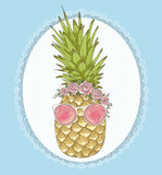 Cute hipster pineapple with sunglasses and flower crown. - 121905456