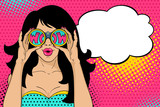 Wow pop art face. Sexy surprised woman with open mouth holding binoculars in her hands with inscription wow in reflection and speech bubble. Vector colorful background in pop art retro comic style.