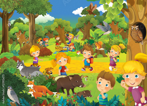 Cartoon scene with kids having fun in the park - illustration for children - 121915675