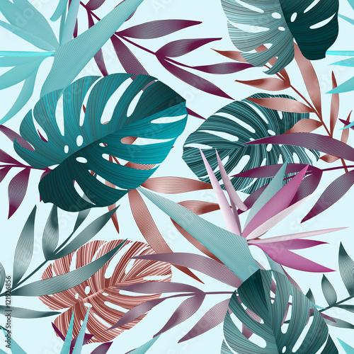 Tropical flowers, jungle leaves, bird of paradise flower. - 121926856