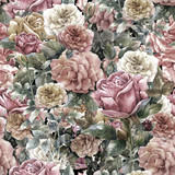Watercolor painting of flowers, rose , seamless pattern