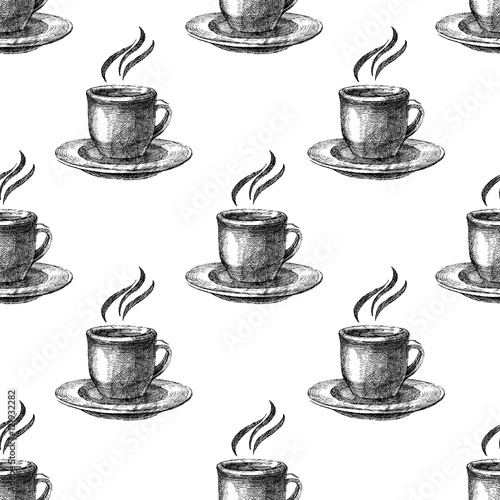 Seamless pattern with colorful coffee cups
