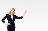 businesswoman, showing something or copyspace