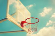 Basketball hoop on a blue sky,color filter