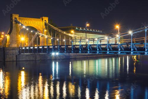 Zdjęcia na płótnie, fototapety na wymiar, obrazy na ścianę : view on historic bridge at night in Wroclaw, Poland