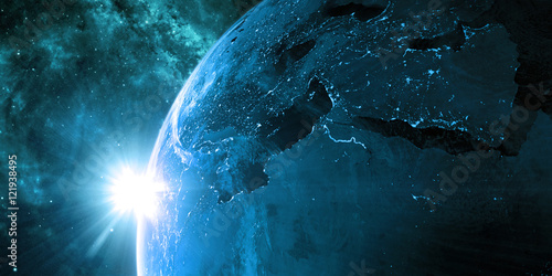 Orbital view on Earth from space Poster