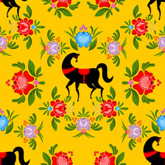 Gorodets painting Black horse and floral seamless pattern. Russi