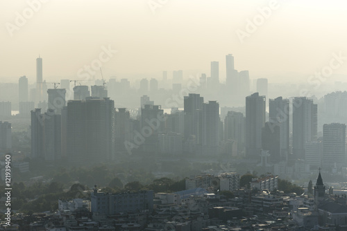 Staande foto Seoel Air pollution over Seoul - South Korea. Ecological pollution is a very serious problem in Asia.